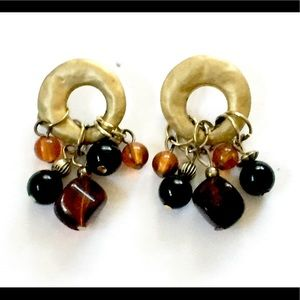 Vintage Gold brown beaded dangle earrings